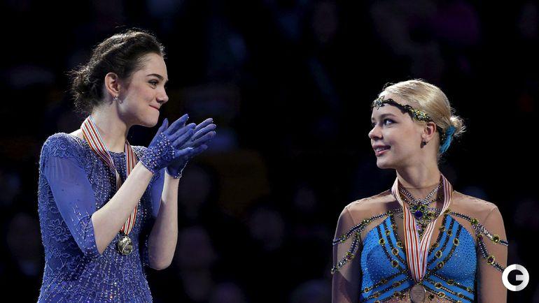 Суббота. Бостон. Евгения МЕДВЕДЕВА (слева) и Анна ПОГОРИЛАЯ: золото и бронза!