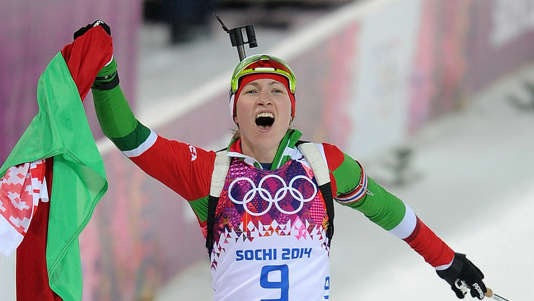 11 февраля 2014 года. Сочи. Дарья ДОМРАЧЕВА выигрывает свою первую золотую олимпийскую медаль. Фото Федор УСПЕНСКИЙ, «СЭ»