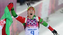 11 февраля 2014 года. Сочи. Дарья ДОМРАЧЕВА выигрывает свою первую золотую олимпийскую медаль.