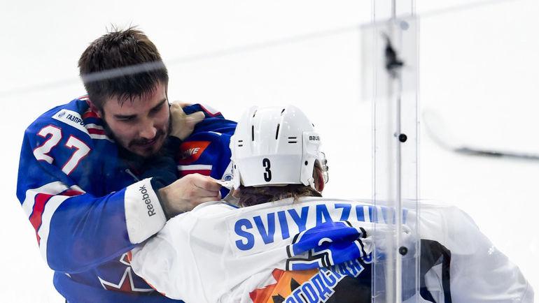 Вячеслав ВОЙНОВ (слева) в матче за СКА. Фото ХК СКА