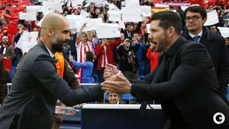 "Среда. Мадрид. ""Атлетико"" (Испания) – ""Бавария"" (Германия) – 1:0. Хосеп ГВАРДЬОЛА (слева) и Диего СИМЕОНЕ."