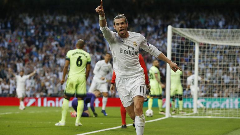 """Среда. Мадрид. """"Реал"""" - """"Манчестер Сити"""" - 1:0. Гарет БЭЙЛ празднует гол в ворота гостей. Фото Reuters"""