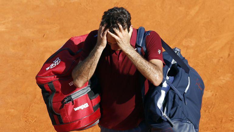 Роджер ФЕДЕРЕР после поражения от Жо-Вилфрида Цонга в Монте-Карло. Фото AFP
