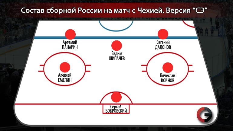 Россия против Чехии. Первая пятерка. Фото «СЭ»
