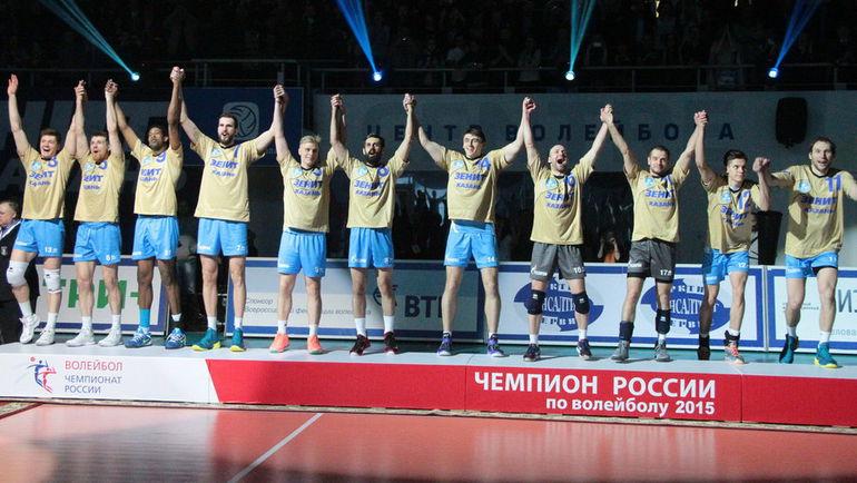 """Игроки казанского """"Зенита"""" празднуют чемпионство. Фото Александр ВОЛГИН"""