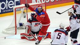 Сегодня. Москва. Россия - США - 7:2. Иван ТЕЛЕГИН празднует третью шайбу в ворота американцев.