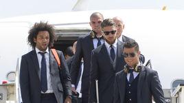 Вчера. МАРСЕЛУ, ПЕПЕ, СЕРХИО РАМОС и КРИШТИАНУ РОНАЛДУ (слева направо) только что прилетели в Милан.