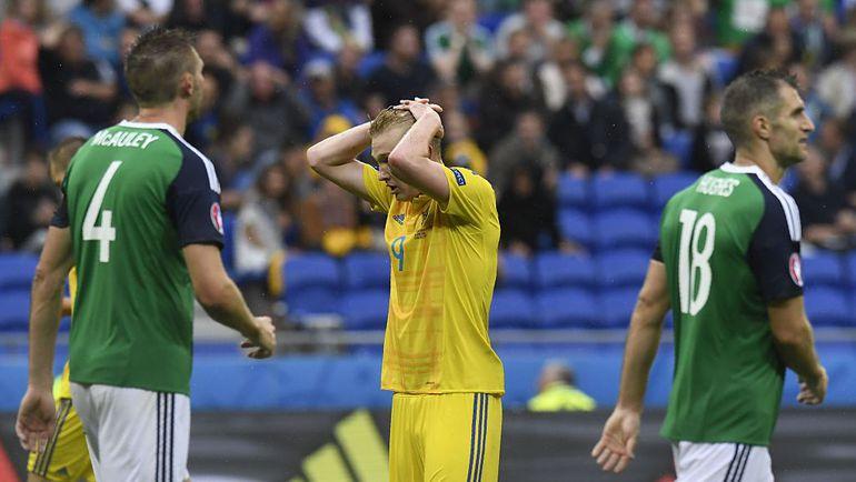 Сегодня. Лион. Украина - Северная Ирландия - 0:2. Виктор КОВАЛЕНКО (№9) имел пару моментов, но так и не сумел забить. Фото УЕФА