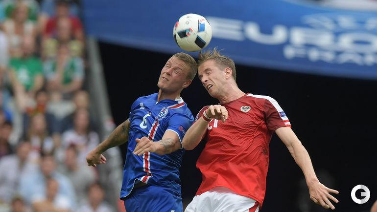 22 июня. Сен-Дени. Исландия – Австрия – 2:1. Краснодарец Рагнар СИГУРДССОН (слева) и Марк ЯНКО.