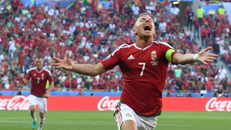 Сегодня. Лион. Венгрия - Португалия - 3:3. Балаж ДЖУДЖАК (№ 7)  и его партнеры уже стали одной  из команд-сенсаций Euro-2016. Фото AFP