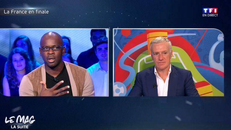 Лилиан Тюрам и Дидье Дешам в эфире французского ТВ. Фото twitter.com
