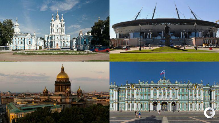 Смольный собор, стадион на Крестовском, Исакиевский собор, Зимний дворец.