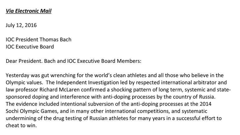 Фрагмент письма от руководителя USADA Трэвиса Тайгерта на имя президента МОК Томаса Баха. Лист 1.