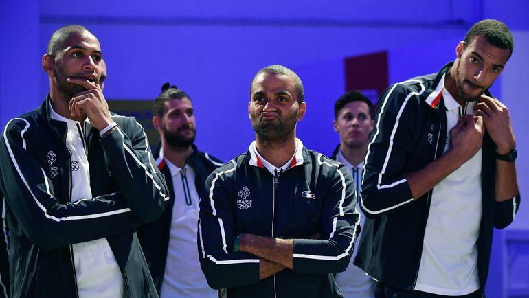 Французское трио из НБА (слева направо): Николя БАТЮМ, Тони ПАРКЕР и Руди ГОБЕР. Фото REUTERS