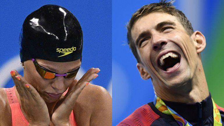Юлия ЕФИМОВА и Майкл ФЕЛПС. Фото AFP/REUTERS