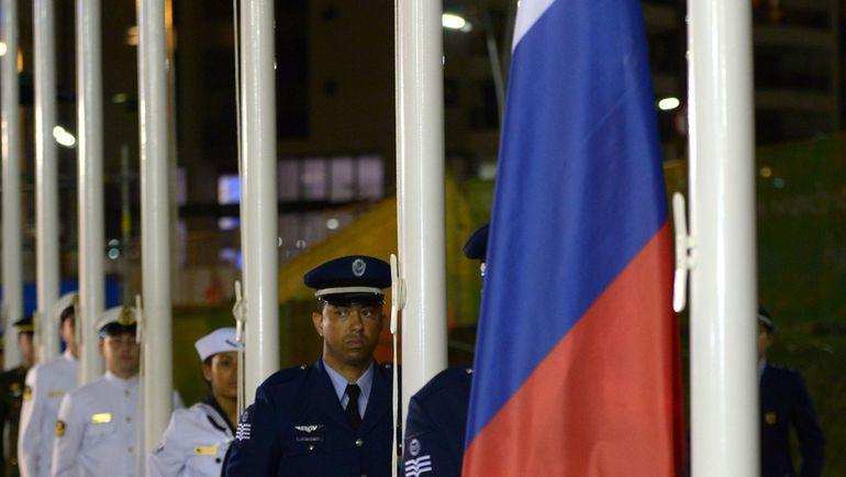 Флаг России в Олимпийской деревне. Фото РИА Новости