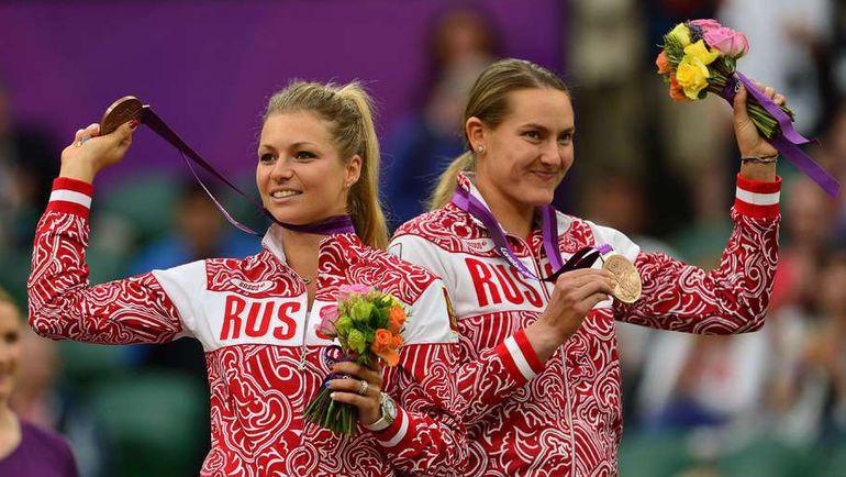 2012 год. ЛОндон. Мария КИРИЛЕНКО и Надежда ПЕТРОВА - бронза. Фото AFP