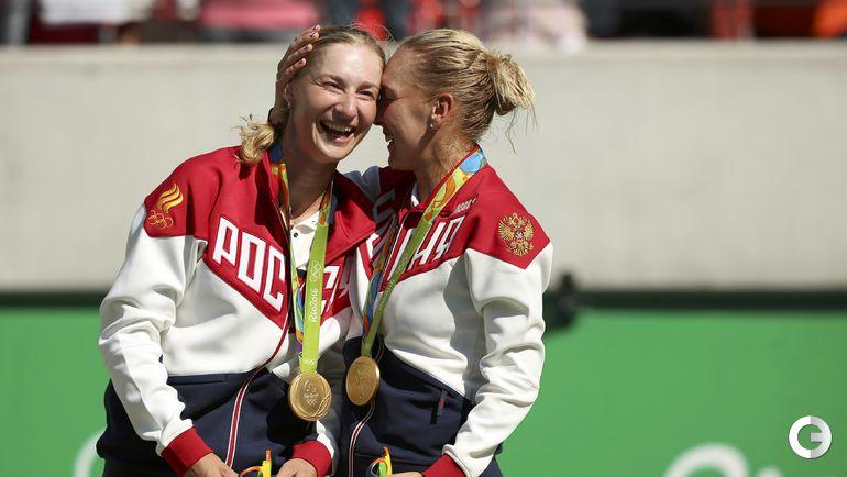 Сегодня. Рио-де-Жанейро. Екатерина МАКАРОВА и Елена ВЕСНИНА - золото. Фото REUTERS