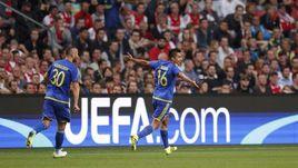 """Вторник. Амстердам. """"Аякс"""" – """"Ростов"""" – 1:1. Кристиан НОБОА празднует забитый гол."""