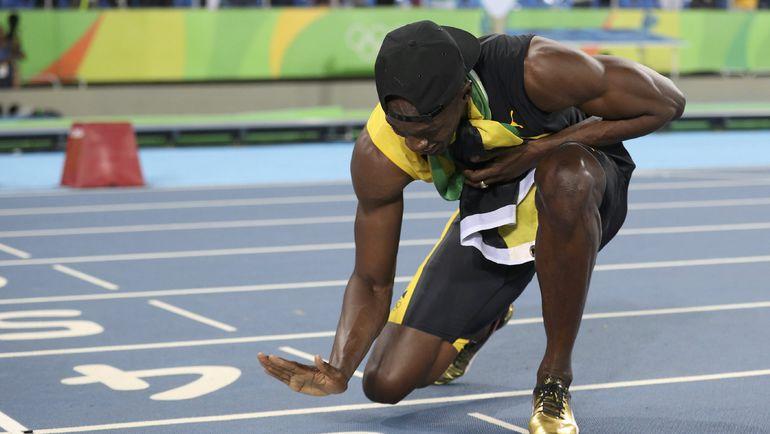 Сегодня. Рио-де-Жанейро. Усэйн БОЛТ празднует 9-е олимпийское золото! Фото REUTERS