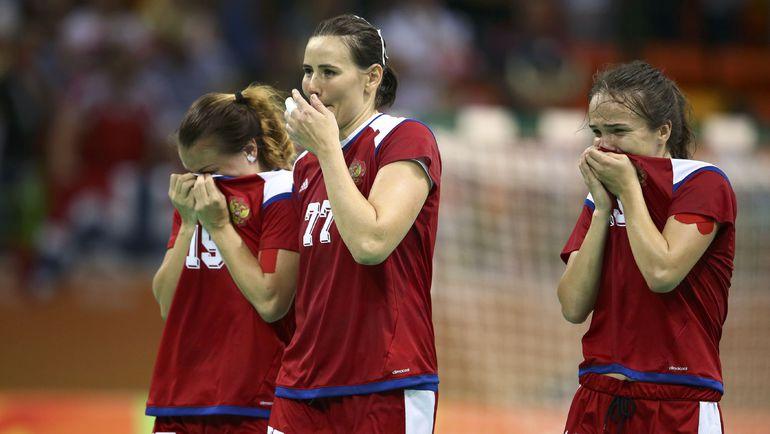 Эмоции игроков сборной России после победы над Норвегией в олимпийском полуфинале. Фото AFP