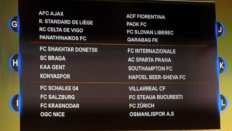 Сегодня. Монако. Табло жеребьевки Лиги Европы. Фото AFP