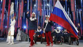 Сборная России на церемонии открытия Паралимпиады-2014 в Сочи.