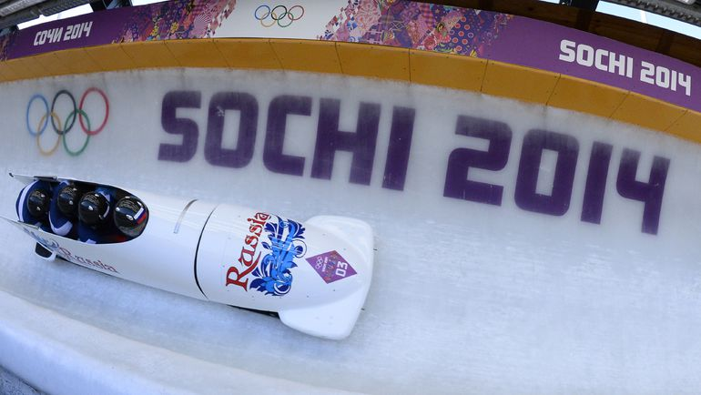 Боб чемпиона Александра ЗУБКОВА на олимпийской трассе в Сочи. Фото AFP
