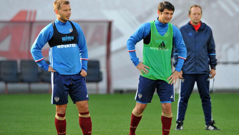 """Алан ДЗАГОЕВ (справа) уже тренируется в общей группе. Фото Федор УСПЕНСКИЙ, """"СЭ"""""""