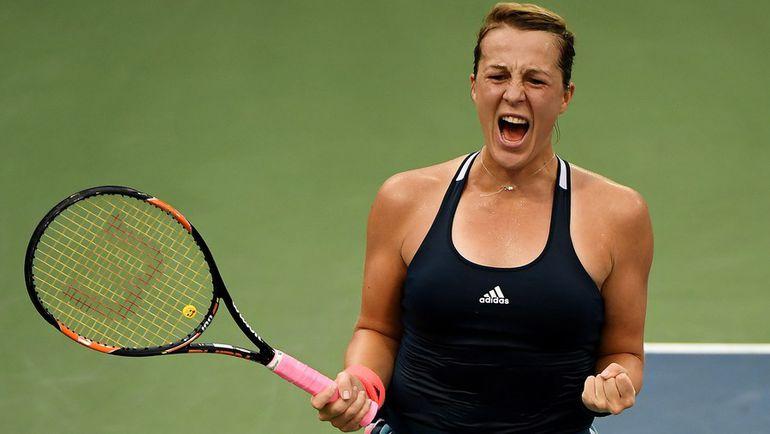 Анастасия ПАВЛЮЧЕНКОВА празднует победу над Кристиной Младенович. Фото AFP