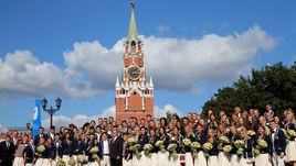 Российские атлеты на приеме в Кремле.