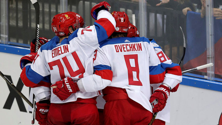 Россияне празднуют гол Никиты Кучерова после передачи Евгения Кузнецова. Фото REUTERS