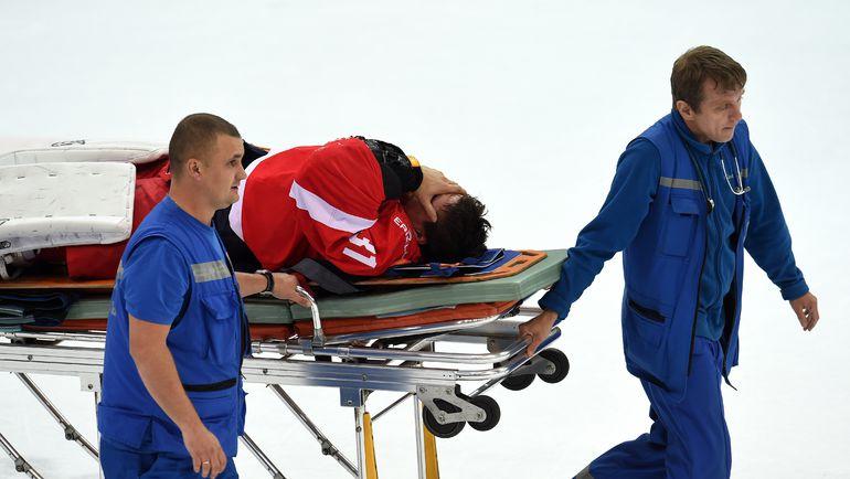 Травмированный Никита БЕСПАЛОВ. Фото photo.khl.ru