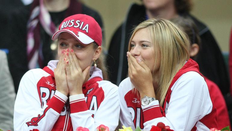 "Анна ЧАКВЕТАДЗЕ (слева) и Мария ШАРАПОВА. Фото Александр ФЕДОРОВ, ""СЭ"""