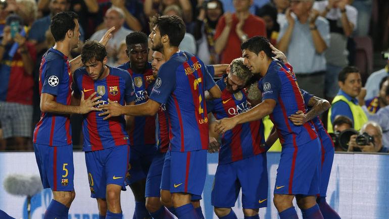 """Вторник. Барселона. """"Барселона"""" - """"Селтик"""" - 7:0. Игроки """"Барселоны"""" празднуют забитый гол. Фото REUTERS"""