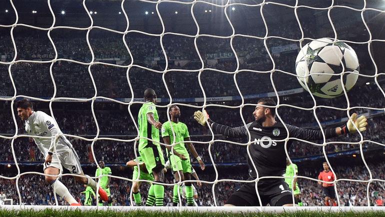 """Среда. Мадрид. """"Реал"""" – """"Спортинг"""" – 2:1. 90+5-я минута. Удар Альваро МОРАТЫ (слева) принес """"Реалу"""" волевую победу. Фото AFP"""