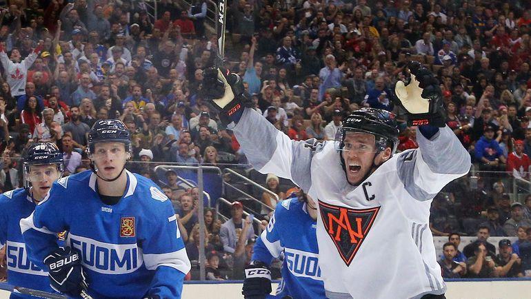 Воскресенье. Торонто. Финляндия – Северная Америка – 1:4. Радость Коннора МАКДЭВИДА. Фото AFP