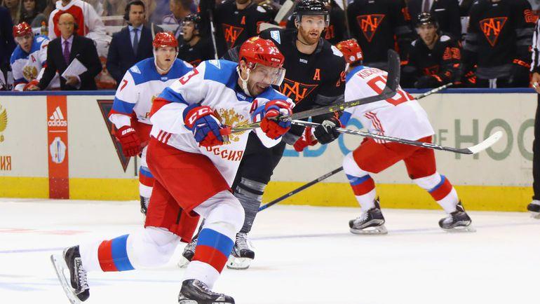 Вторник. Торонто. Россия - Северная Америка - 4:3. Павел ДАЦЮК атакует ворота соперника. Фото AFP