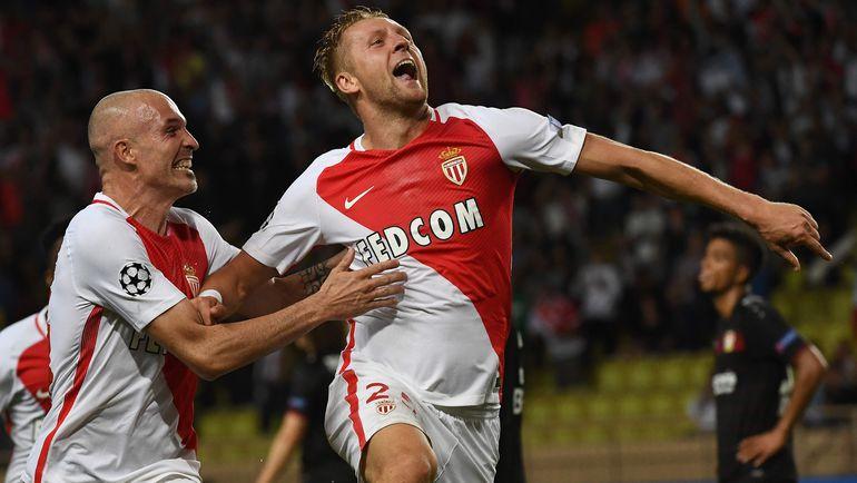 "Вторник. Монако. ""Монако"" - ""Байер"" - 1:1. 90+4-я минута. Ликование защитника хозяев Камиля ГЛИКА. Фото AFP"