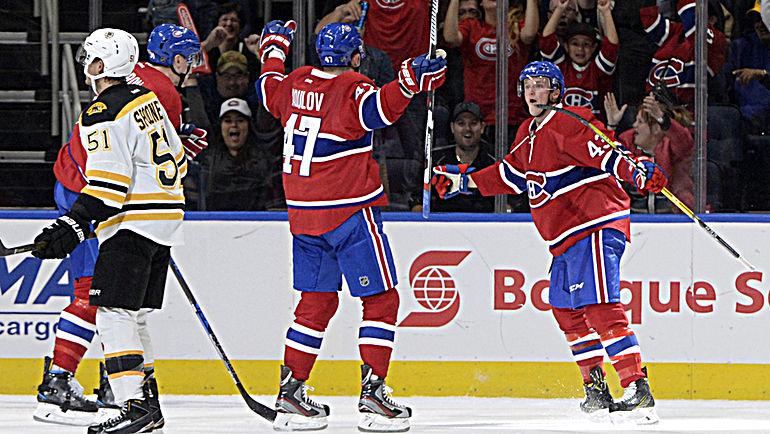 """Вторник. Квебек. """"Монреаль"""" - """"Бостон"""" - 4:3. Дэниэл КЭРР (№43) и Александр РАДУЛОВ (№47) празднуют гол. Фото USA Today"""