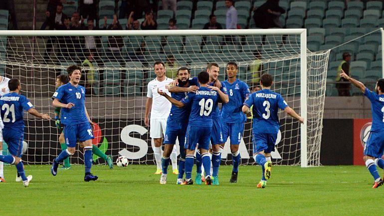 Вчера. Баку. Азербайджан - Норвегия - 1:0. Азербайджан празднует вторую победу на старте отборочного цикла. Фото AFP