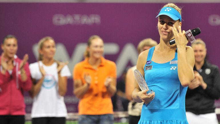 29 октября 2010 года. Доха. Елена ДЕМЕНТЬЕВА прощается с теннисом. Фото REUTERS