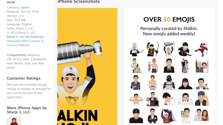 Скриншот описания комплекта эмодзи от Малкина. Фото itunes.apple.com