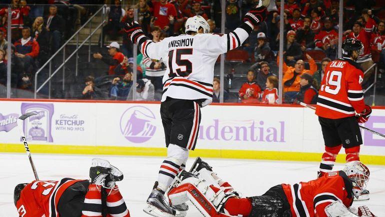 """Пятница. Нью-Джерси. """"Нью-Джерси"""" – """"Чикаго"""" – 2:3 ОТ. Артем АНИСИМОВ празднует побендый гол. Фото НХЛ"""