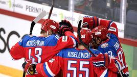 Сегодня. Хельсинки. Россия - Финляндия - 5:1. Национальная команда России празднует победу.
