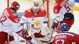 Сегодня. Хельсинки. Чехия - Россия - 0:3. Илья СОРОКИН совершает очередной сэйв.