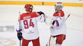 Сегодня. Хельсинки. Чехия - Россия - 0:3. Илья СОРОКИН (справа) и Андрей МИРОНОВ.