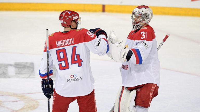 Капитан сборной России Андрей МИРОНОВ и вратарь Илья СОРОКИН. Фото REUTERS