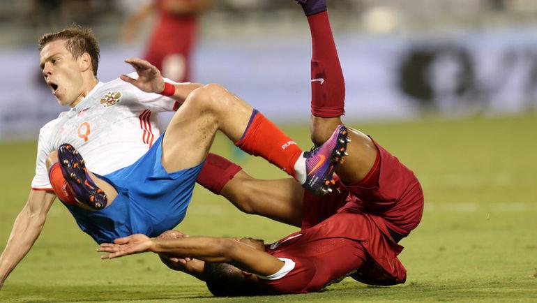 Вчера. Доха. Катар - Россия - 2:1. Хозяева отправили в полет и Александра КОКОРИНА, и всю нашу сборную. Фото AFP