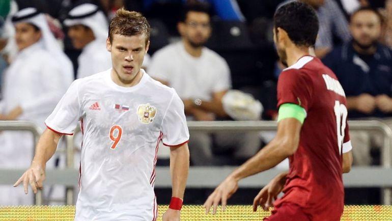 Александр КОКОРИН (слева) в матче с Катаром. Фото AFP